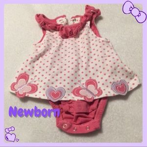 White and Pink Polka Dotted Dress Onesie